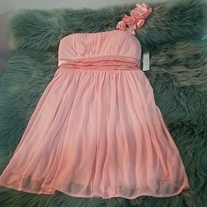Peach dress One shoulder Diamond studded flower
